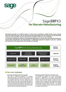 Sage ERP X3 Discrete Manufacturing